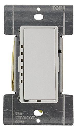 Leviton MDF01-1LW Mural 1.5A Quiet Step Preset Digital Rocker Fan Speed Control, Single-Pole, White ()