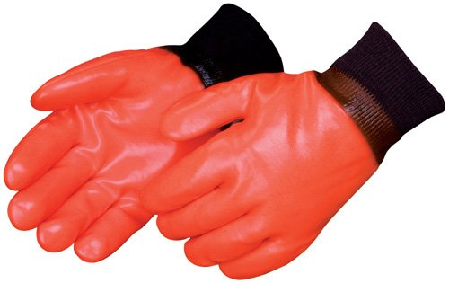 (Liberty 2521 PVC Coated-Supported Glove with Knit Wrist, Chemical Resistant, Large, Fluorescent Orange (Pack of 12))