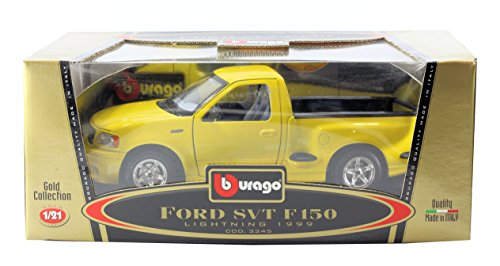 Ford Svt Lightning (Burago Gold Collection 1:21 Scale - Ford SVT F150 1999 Lightning Pickup Truck in Yellow - Made it)