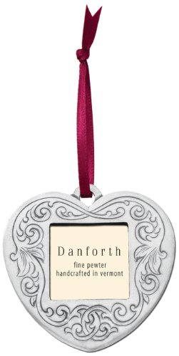 (DANFORTH - Victorian Heart Pewter Frame Ornament - Satin Ribbon -)