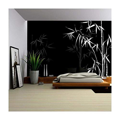 (wall26 - Vector - White Bamboo Branches Imprint on Black Background. Japanese Chinese Elements in Asian Ornament Style. - Removable Wall Mural   Self-Adhesive Large Wallpaper - 66x96 inches )