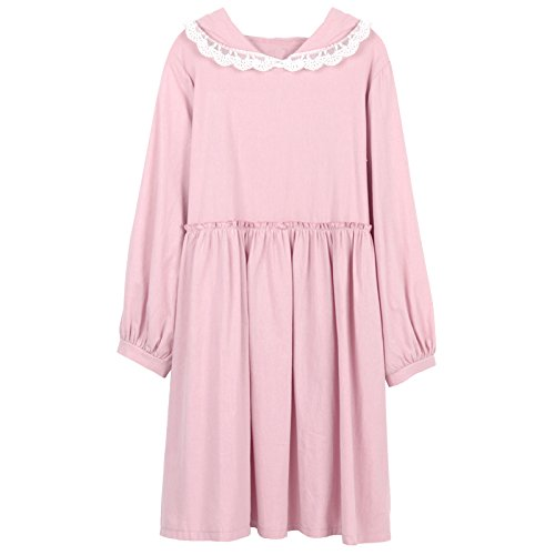 Pink en Capuche Himifashion Ears Mesdames Manches Robe Robes Rabbit Longues Coton qBv6wO1p