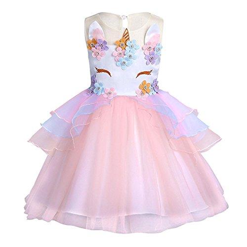 KABETY Baby Girl Unicorn Costume Pageant Flower Princess Party Dress with Headband (90cm, Orange (no Headband)) ()