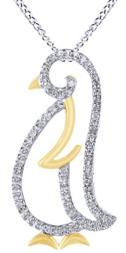 (White Natural Diamond Penguin Pendant Necklace In 14K White Gold Over Sterling Silver (0.05 Ct))