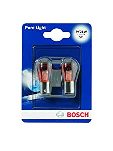 Bosch 1987301018 Pure Light - Bombilla PY21W (para luz de freno, intermitentes, matrícula, etc.)