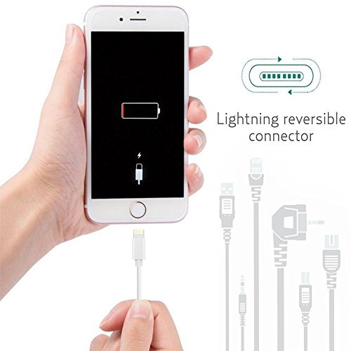 iPhone electricity Adapter Cable Chargers 3FT 6FT Lightning to USB Cables Data Sync Charging Cords by using Two Wall plugs for iPhone X 8 8 plus 7 7 plus 6 6S Plus iPhone 5 5c 5s SE iPad iPod White Lightning Cables