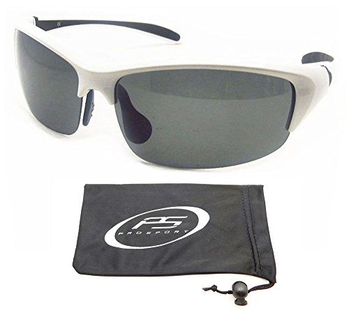 Polarized Sunglasses with prmium TAC Polarized lenses and ultra light White half frames. Fits Asian Faces. Free Microfiber Cleaning Case - Frames Faces Asian For Best