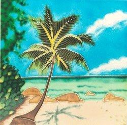 Palm Tile Ceramic Tree - Palm Tree Decorative Ceramic Wall Art Tile 4x4