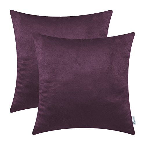 CaliTime Pack of 2 Cozy Throw Pillow Covers Cases for Couch Bed Sofa Super Soft Faux Suede Solid Color Both Sides 18 X 18 Inches Plum Purple