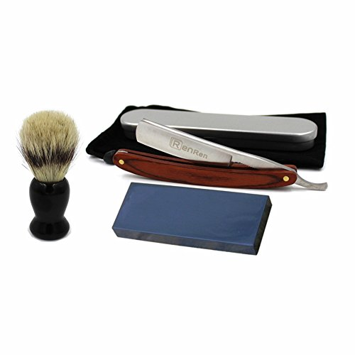 Solid Wood Handle Cut Throat Straight Razor Folding Knife Widen Blade Bristle Brush Natural Whetstone Sharpener Manual Wet Shaving Kit Set for Men w Gift Box & Pouch