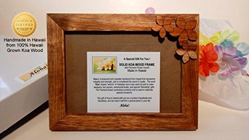 Certified Hawaii Koa Wood 5×7 Picture Frame with KOA PLUMERIA Accent – Handmade in Hawaii