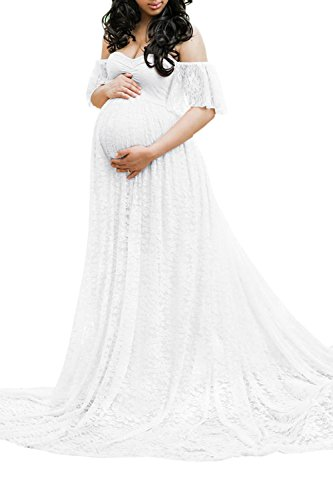 Gown Maternity Ruffle Photography Maxi Lace Dress Meenew Women's White Shoulder Off PUSttw