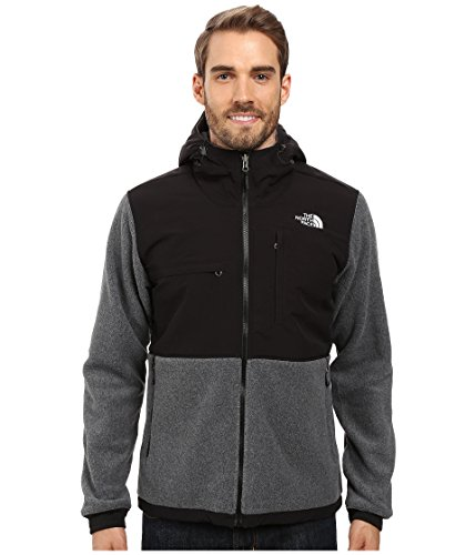 The North Face Denali 2 Hoodie Jacket - Men's Recycled Charcoal Grey Heather/TNF Black Large