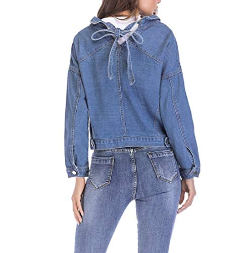 Tops Outwear Blue Pea Denim Button Womens Coat Premium Mogogo Single Pocket w0aYaq
