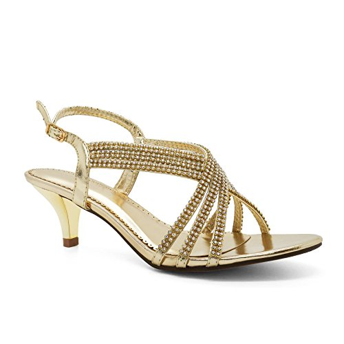 London Footwear - Zapatos con correa de tobillo mujer Dorado - dorado