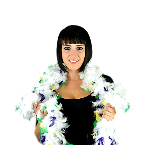 Touch of Nature 1-Piece Feather Turkey Flat Chandelle Boa for Arts and Crafts, 2-Yard, Mardi-Gras White Tipped with Green