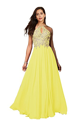 Lily Wedding Womens Halter Gold Applique Prom Bridesmaid Dresses 2019 Long Chiffon Evening Formal Gowns P199 Yellow Plus Size 20