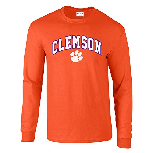 Elite Fan Shop NCAA Men's Clemson Tigers Long Sleeve Shirt Team Color Arch Clemson Tigers Orange Medium