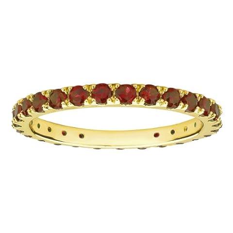 10k Yellow Gold Round Garnet Eternity Ring (Size 6) (Ring Garnet Gold)