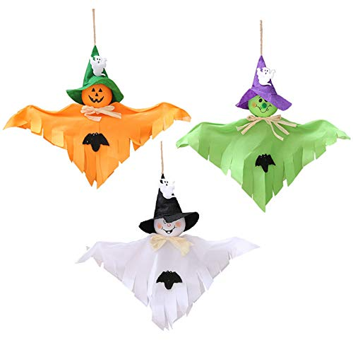 3 Pack - Halloween Party Decoration Hanging Ghost Windsock , Spook Pumpkin Fly Witch Scarecrow Doll for Front Yard Patio Lawn Garden Party Decor and Holiday Decorations Themed (White/orange/green) -