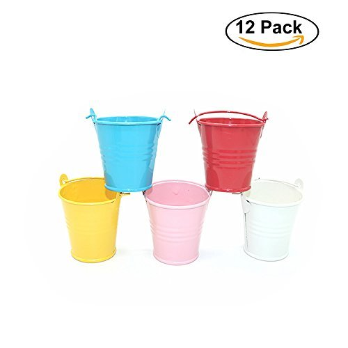 HUELE Mini Metal Buckets Colorful Tin Tinplate Pails Candy Boxes Wedding Buffet Sugar Box Baby Shower Wedding Supply(1Dozen) (Mini Favor Tins)