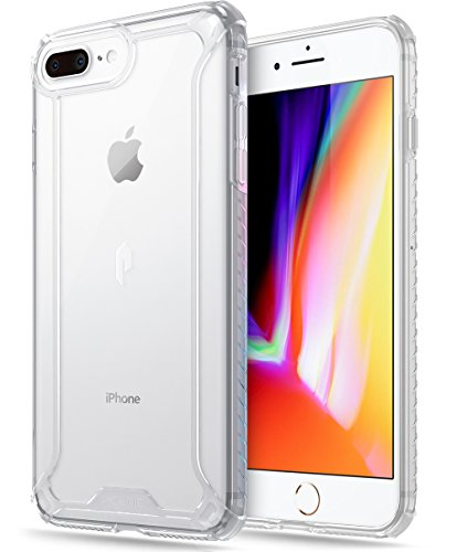 iPhone 7 Plus/iPhone 8 Plus Case, POETIC Affinity Series Premium Thin/No Bulk/Clear/Dual Material Protective Bumper Case for Apple iPhone 7 Plus (2016) / iPhone 8 Plus (2017) Clear/Clear