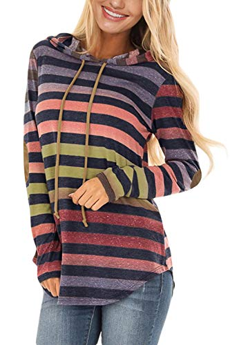 (Asyoly Women Casual Striped Long Sleeve Soft Double Hoodies Pullover Sweatshirts)