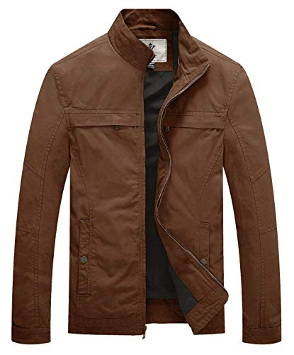 - WenVen Men's Stand Collar Lightweight Military Jacket(Coffee,L)
