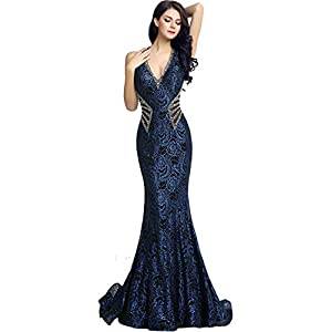 Sarahbridal Women's Crystal Beaded Prom Dress Long Evening Gowns