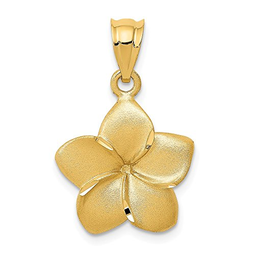- 14k Yellow Gold Plumeria Floral Pendant Charm Necklace Flower Gardening Fine Jewelry Gifts For Women For Her