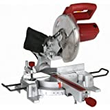 10 Inch Sliding Compound Miter Saw with 45 Degree Bevel and Dust Bag, Extension Bars and Table Clamp by Chicago Pneumatic