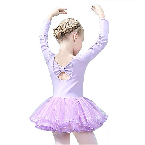 let Tutu Slim Dance Leotards Dress Long Sleeve Soft Cotton with Back Bowknot for Dancing Athletic Skirt Purple Size 120 ()