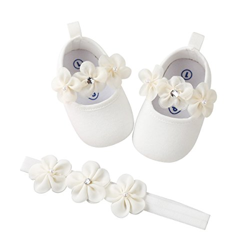 Isbasic Baby Boys Girls Flat Shoes Toddler Soft Sole Mary Jane Pincess Christening Baptism Crib Shoes (12-18 Months, White Shoes+Hairband)