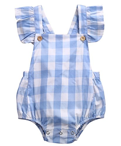Newborn Infant Baby Girls Plaids Checks Fly Sleeves Romper Jumpsuit Bodysuit Outfits (0-3M) -