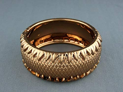 Shiny Copper bracelet hinged textured plastic bangle cuff 1.25 wide -