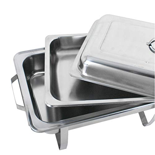 SUPER DEAL 8 Qt Stainless Steel 4 Pack Full Size Chafer Dish w/Water Pan, Food Pan, Fuel Holder and Lid For Buffet/Weddings/Parties/Banquets/Catering events (4) by SUPER DEAL (Image #5)