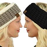 Winter CC Sherpa Polar Fleece Lined Thick Knit Headband Headwrap Hat Cap (Black/Natural Gray 2 Pack Combo)