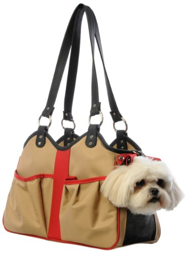 Petote Metro 2 Pet Carrier Bag, Small, Khaki/Black/Red, My Pet Supplies