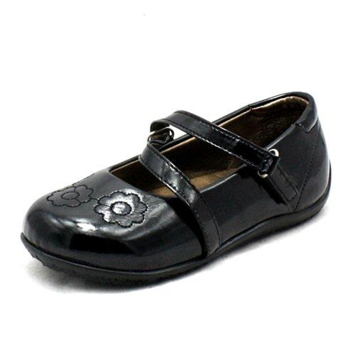 Patent Klettband bestickt Schuhe Mädchen Black