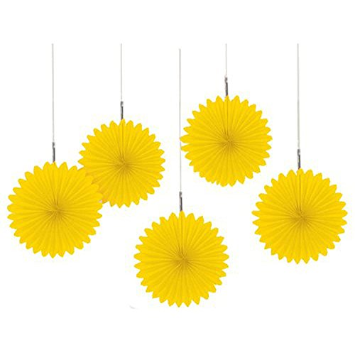 (Amscan Pretty and Fun Hanging Round Mini Fan Party Decoration, Sunshine Yellow, Paper , 6