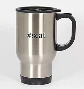 #scat - Funny Hashtag 14oz Silver Travel Mug