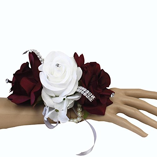Angel Isabella Wrist Corsage-keepsake artificial roses hydrangea large wrist flower flower prom dance graduation events (Burgundy White) (White Corsage)