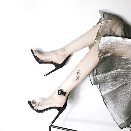 con black 10cm fibbia trentotto KOKQSX tacchi sandali trasparente tacco sottile una alti di YCw7q1