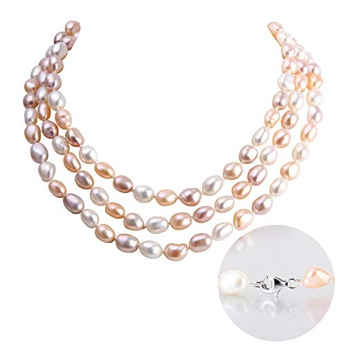 (AIM Jewelry Freshwater Cultured Pearl Necklace,Genuine White, Pink, Purple Pearls Strand Necklace for Women Pearl Jewelry in 48Inch,64Inch)