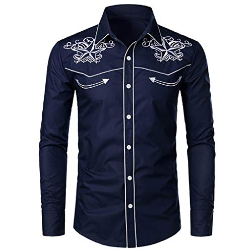 Mustang Embroidery (SSDXY Men's Casual Embroidery Pullover Long Sleeved Autumn Winter Top Blouses Navy)
