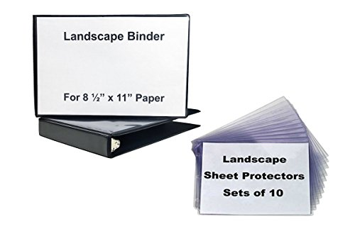 1 1/2'' Landscape Binder, Black Vinyl with 1 10 Sets of Sheet Protectors - strudy crystal clear sheet protectors to hold your text, photopraphs, music sheets in a horizontal format by LandscapeBinder-com