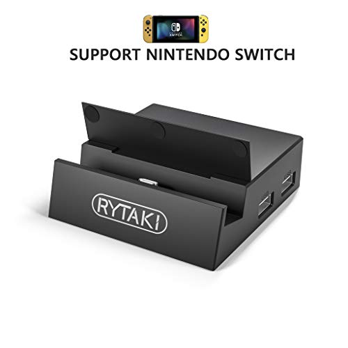 Rytaki USB C Docking Station Compatible with Nintendo Switch - Portable Dock with 2 USB Port SD Card Reader/HDMI Output and PD Charger Stand, Replacement for Nintendo Switch Original Charge Dock