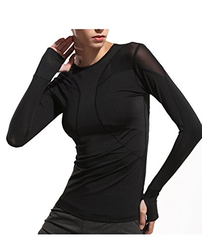 Women's Mesh Workout Long Sleeve T-shirt with Thumb Hole