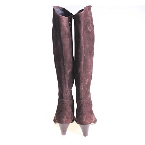 Unützer Damen Stiefel Wildleder Dunkelbraun, Schuhgröße:38