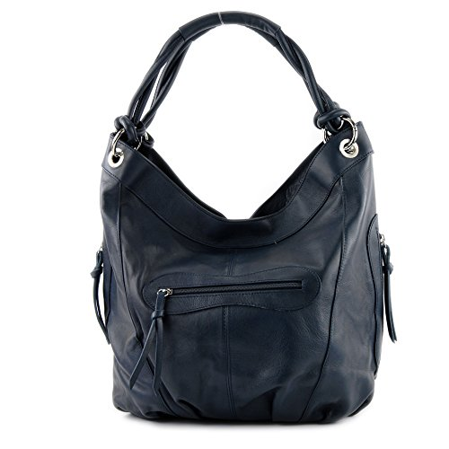 Leather Italian Modamoda Cm Nappa Choice Large Colour Bag Z18 Dark Shoulder Women's Blue 42x16x30 dxAqAI